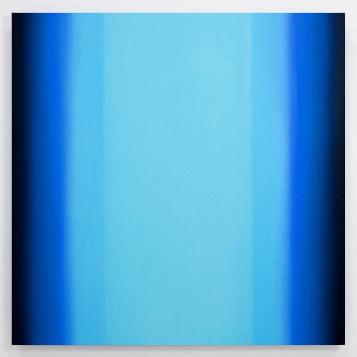 Inevitability of Truth 3-S7272 Square (Blue Orange/Blue Light), 2015, oil on canvas on custom beveled stretcher, 72 x 72 in. (183 x 183 cm.)