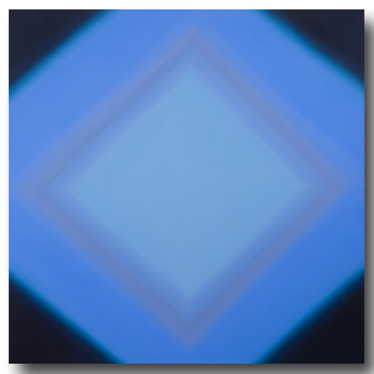 Inevitability of Truth 4-S7272 Square Diamond (Blue Orange/Blue Violet), 2015, oil on canvas on custom beveled stretcher, 72 x 72 in. (183 x 183 cm.)