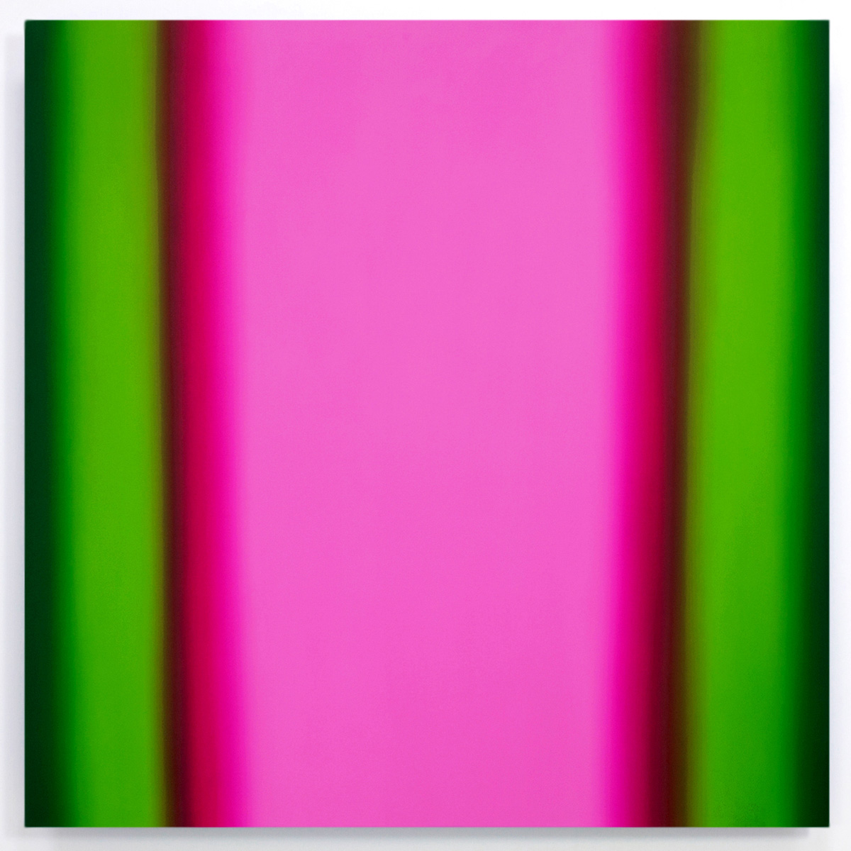 Inevitability of Truth 9-S6060 Square (Red Green/Magenta Light), 2015, oil on canvas on custom beveled stretcher, 60 x 60 in. (153 x 153 cm.)
