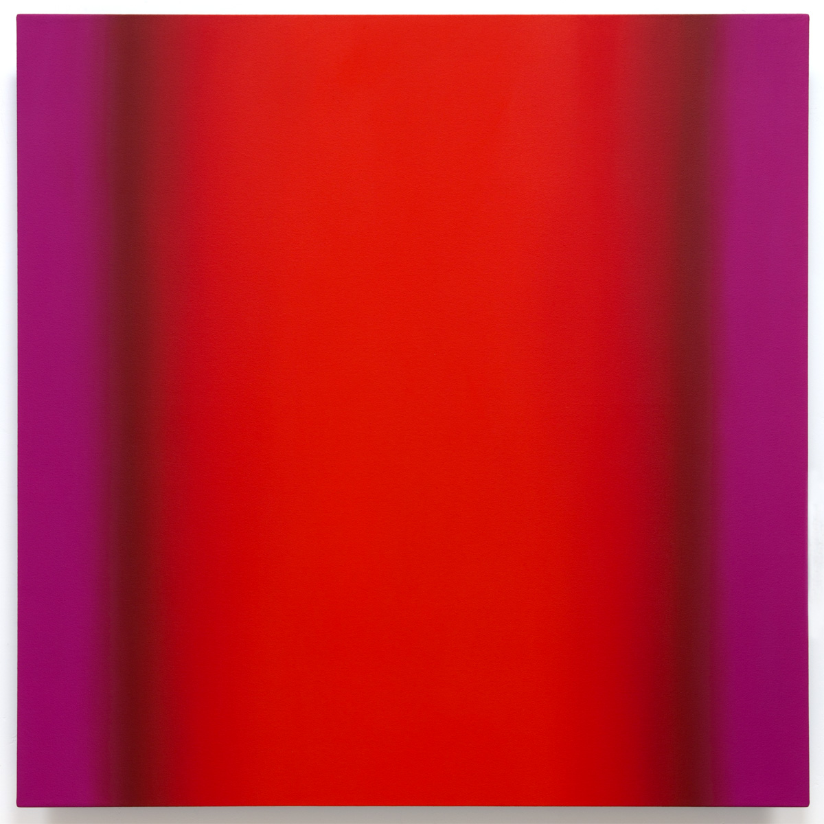 Red Green 1-S4848 (Red Magenta), Interplay Series, 2013, oil on canvas on custom beveled stretcher, 48 x 48 in. (122 x 122 cm.)