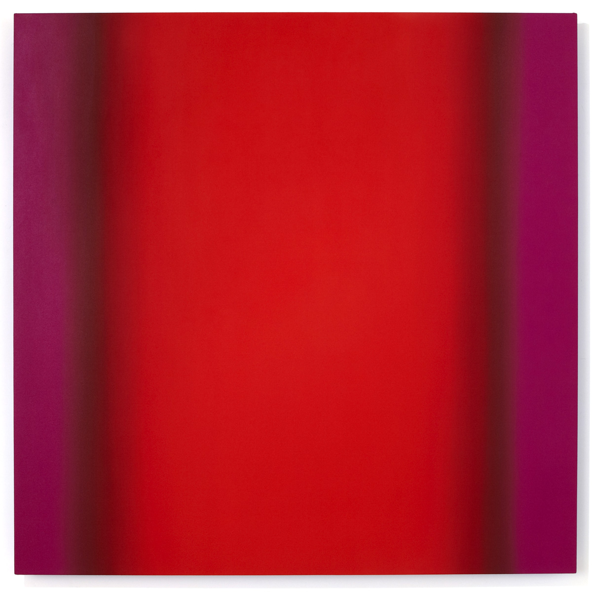 Mind's Eye Red Green 1-S6060 (Red Magenta), Sense Certainty Series, 2014, oil on canvas on custom beveled stretcher, 60 x 60 in. (153 x 153 cm.)