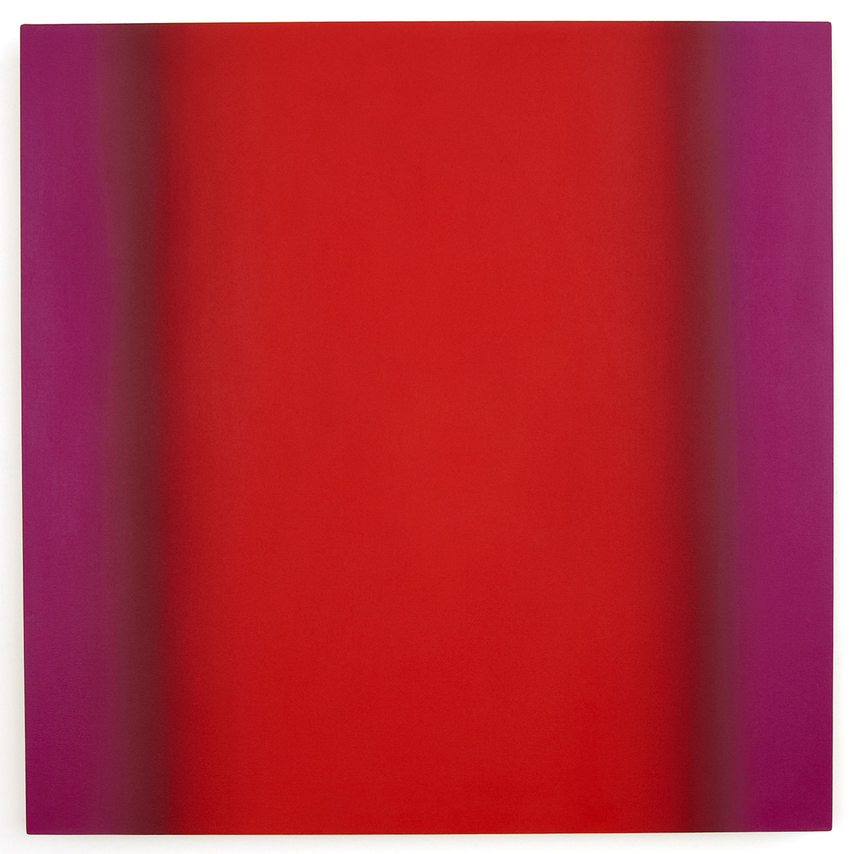 Red Green 4-S4848 (Red Magenta), Interplay Series, 2013, oil on canvas on custom beveled stretcher, 48 x 48 in. (122 x 122 cm.)