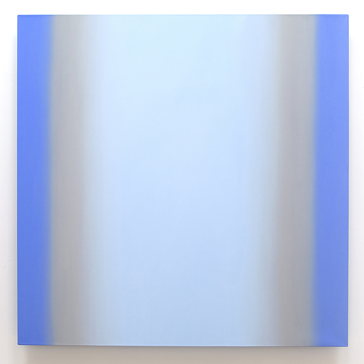 Blue Orange 3-S6060 (Blue Light), Interplay Series, 2013, oil on canvas on custom beveled stretcher, 60 x 60 in. (153 x 153 cm.)