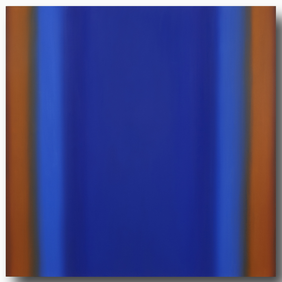 Mind's Eye Blue Orange 7-S6060 (Orange Deep), Sense Certainty Series, 2014, oil on canvas on custom beveled stretcher, 60 x 60 in. (153 x 153 cm.)