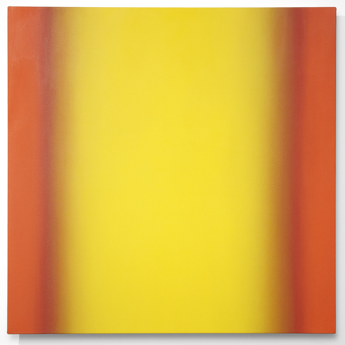 Blue Orange 9-S4848 (Yellow Orange), Interplay Series, 2013, oil on canvas on custom beveled stretcher, 48 x 48 in. (122 x 122 cm.)