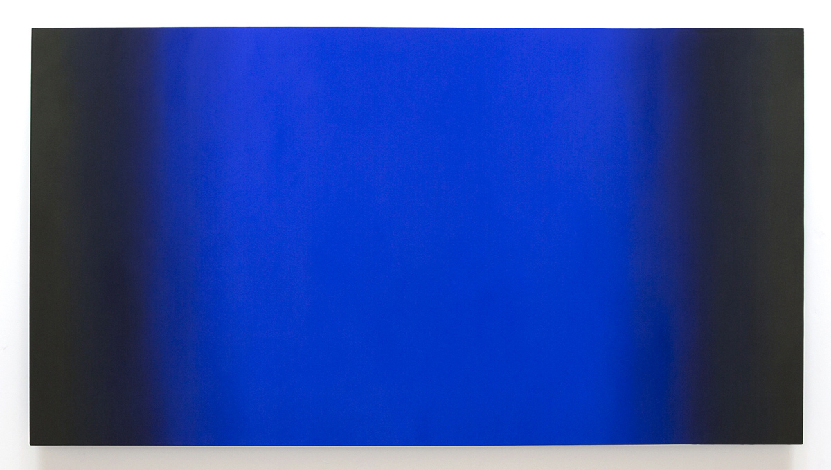 Blue Orange 6-H4890 (Blue Deep), Interplay Series, 2013, oil on canvas on custom beveled stretcher, 48 x 90 in. (122 x 229 cm.)