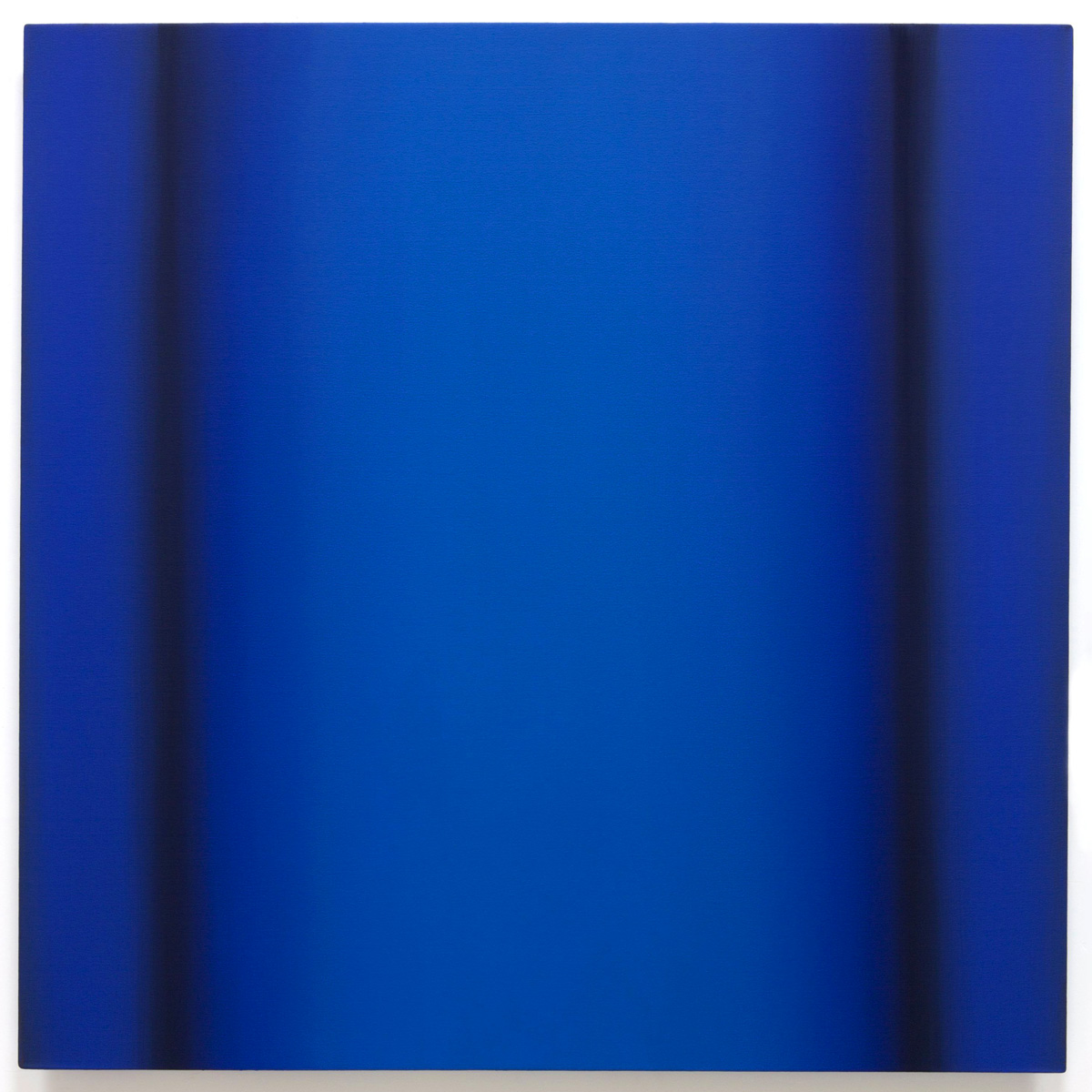Blue Orange 1-S4848 (Blue Deep), Interplay Series, 2013, oil on canvas on custom beveled stretcher, 48 x 48 in. (122 x 122 cm.)