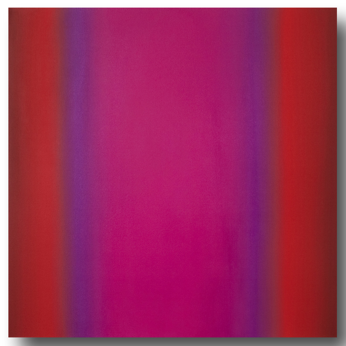 Mind's Eye Red Green 2-S4848 (Magenta Violet), Sense Certainty Series, 2014, oil on canvas on custom beveled stretcher, 48 x 48 in. (122 x 122 cm.)