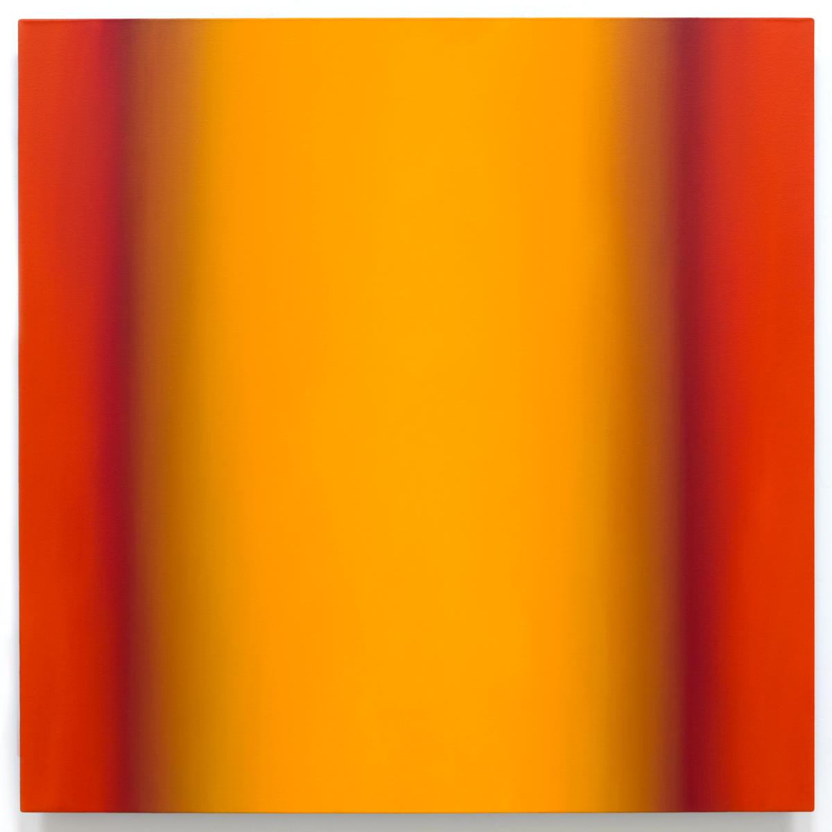 Blue Orange 2-S4848 (Yellow Orange), Interplay Series, 2013, oil on canvas on custom beveled stretcher, 48 x 48 in. (122 x 122 cm.)