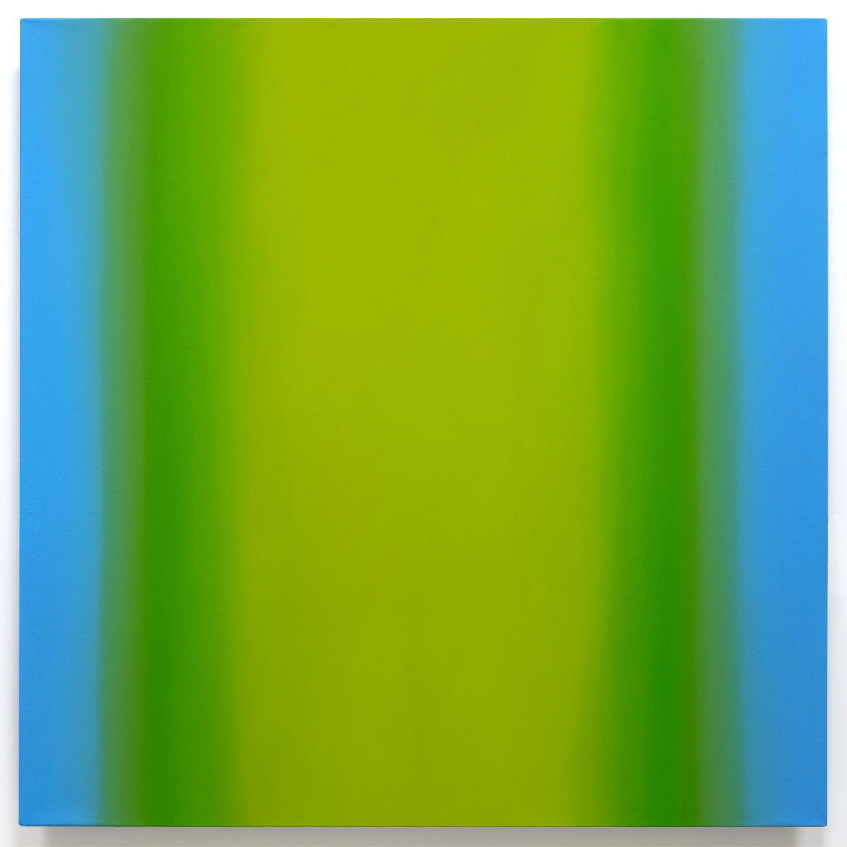 Red Green 2-S6060 (Yellow Green), Interplay Series, 2013, oil on canvas on custom beveled stretcher, 60 x 60 in. (153 x 153 cm.)