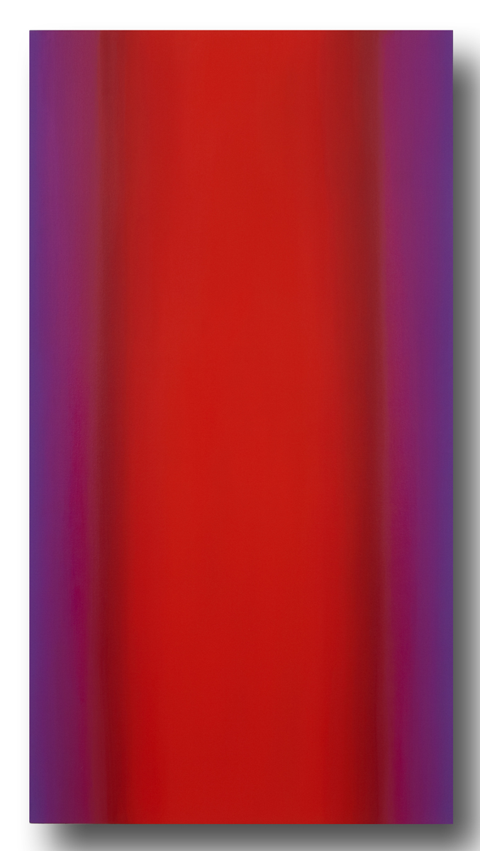 Mind's Eye Red Green 4-V6032 (Red Magenta), Sense Certainty Series, 2014, oil on canvas on custom beveled stretcher, 60 x 32 in. (153 x 82 cm.)