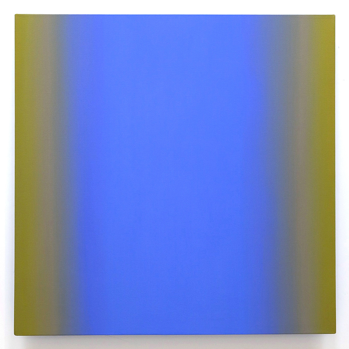 Yellow Violet 1-S4848 (Blue Violet), Interplay Series, 2013, oil on canvas on custom beveled stretcher, 48 x 48 in. (122 x 122 cm.)