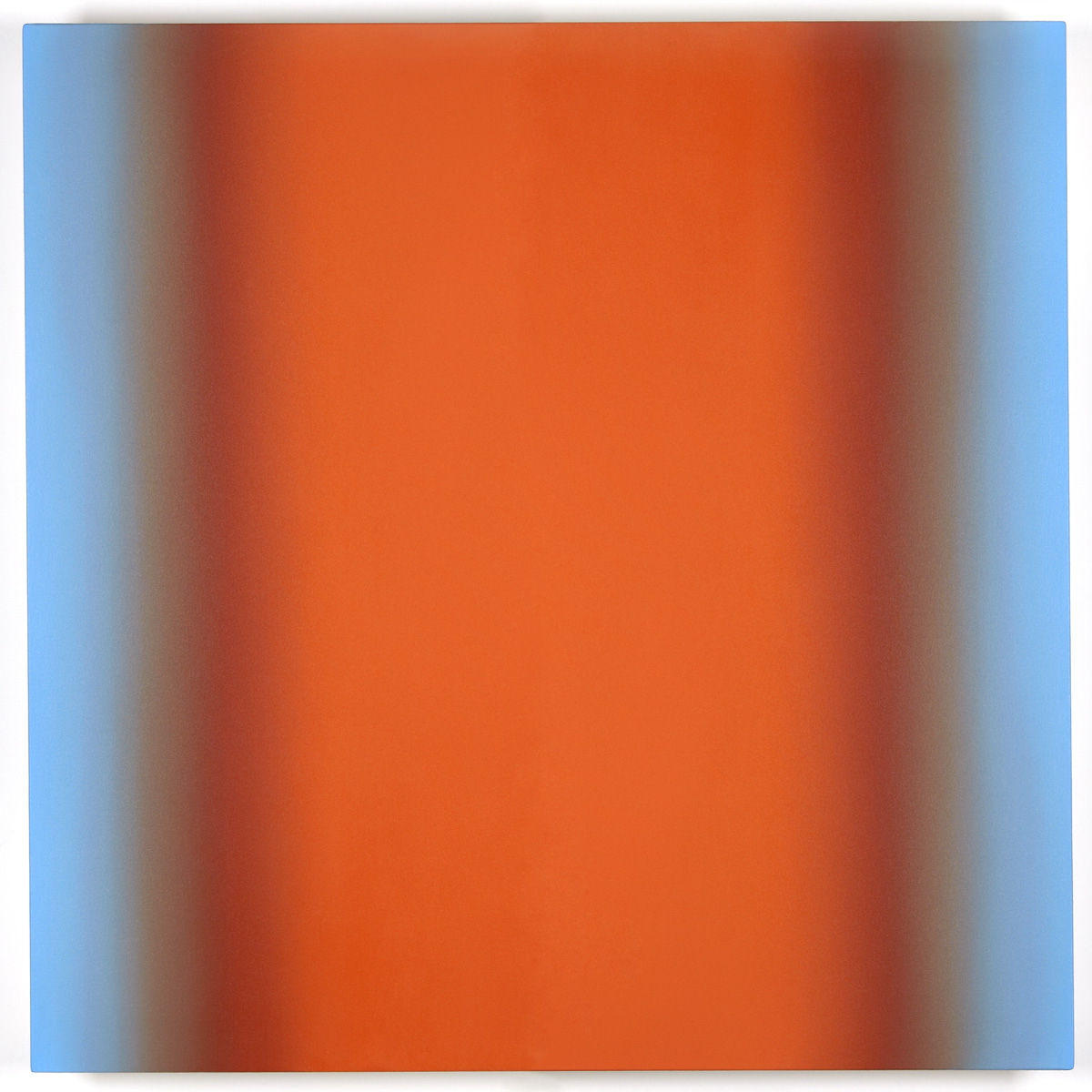 Blue Orange 11-S4848 (Orange Deep), Interplay Series, 2013, oil on canvas on custom beveled stretcher, 48 x 48 in. (122 x 122 cm.)