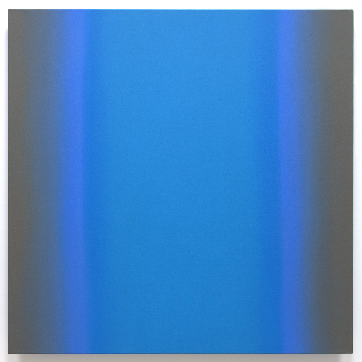 Blue Orange 4-S6060 (Violet Blue), Interplay Series, 2013, oil on canvas on custom beveled stretcher, 60 x 60 in. (153 x 153 cm.)