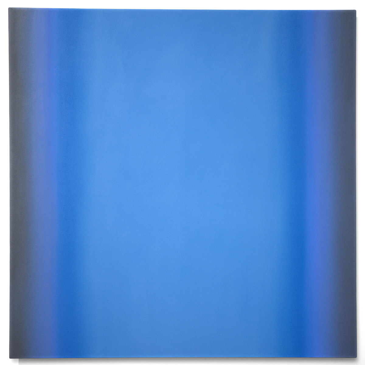 Blue Orange 7-S6060 (Violet Blue Light), Interplay Series, 2013, oil on canvas on custom beveled stretcher, 60 x 60 in. (153 x 153 cm.)