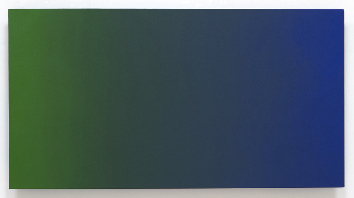 Conquer Surrender Green Violet H1L, Secondary Color Series, 2011, oil on canvas on custom beveled stretcher, 32 x 60 in. (82 x 153 cm.)