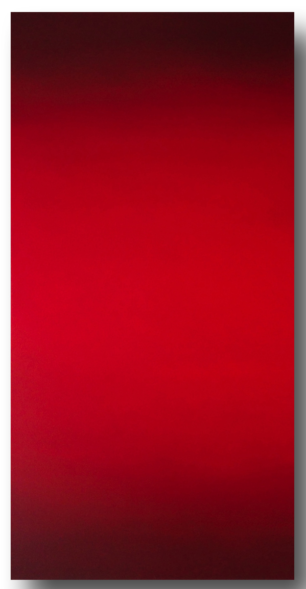 Threshold (Red Green), Primary Red Blue Series, 2008, oil on canvas, 80 x 40 in. (204 X 102 cm.)