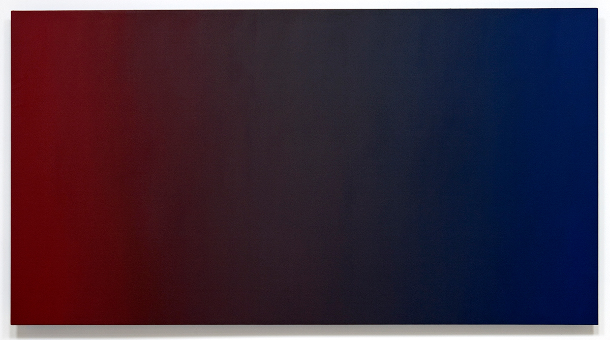 Ruin's Reinvention (Red Blue), Primary Red Blue Series, 2010-2011, oil on canvas on custom beveled stretcher, 45 x 84 in. (115 x 214 cm.)