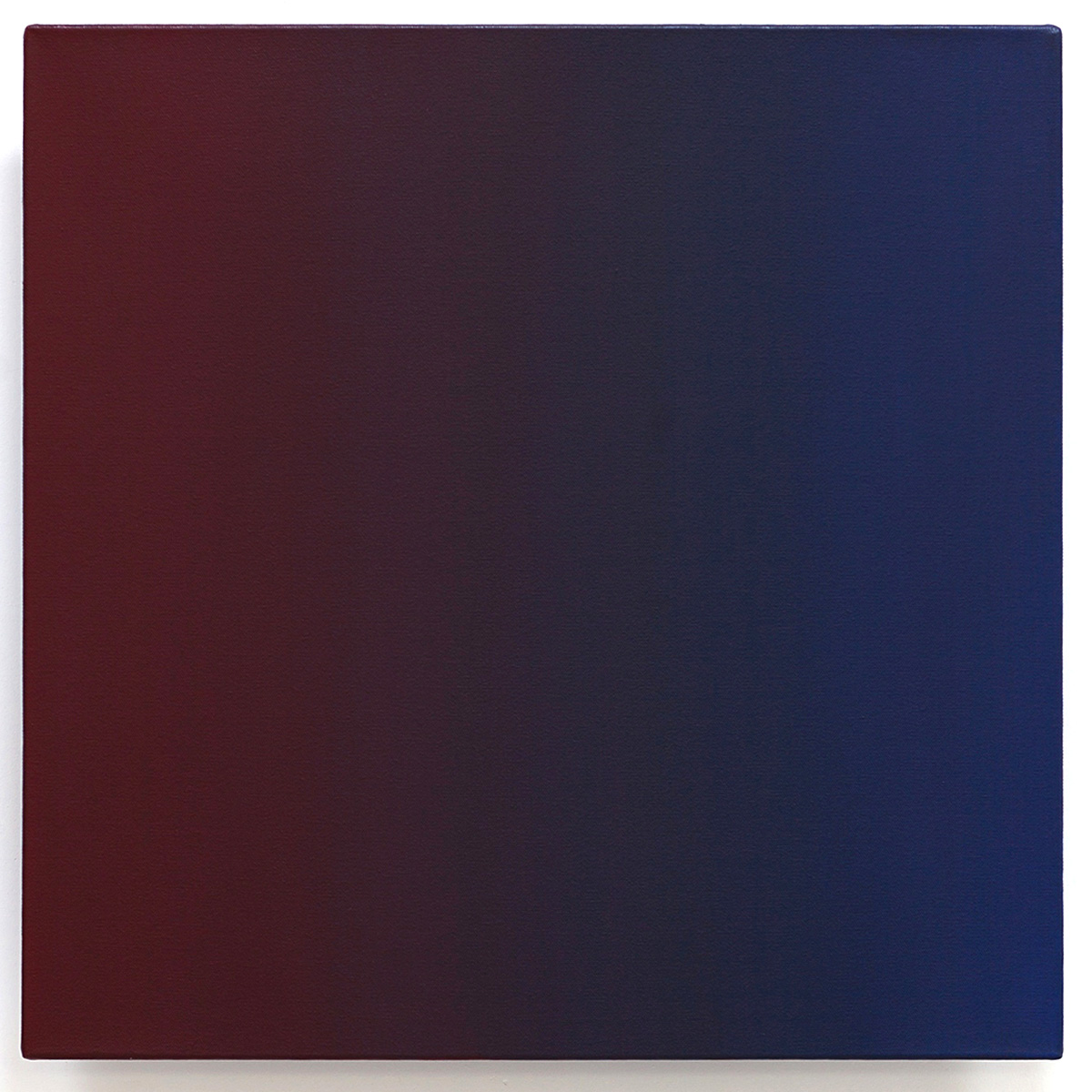 Fiend (Red Blue), Present Fugitive Series, 2010, oil on canvas on custom beveled stretcher, 24 x 24 x 3 in. (61 x 61 x 7 cm.)