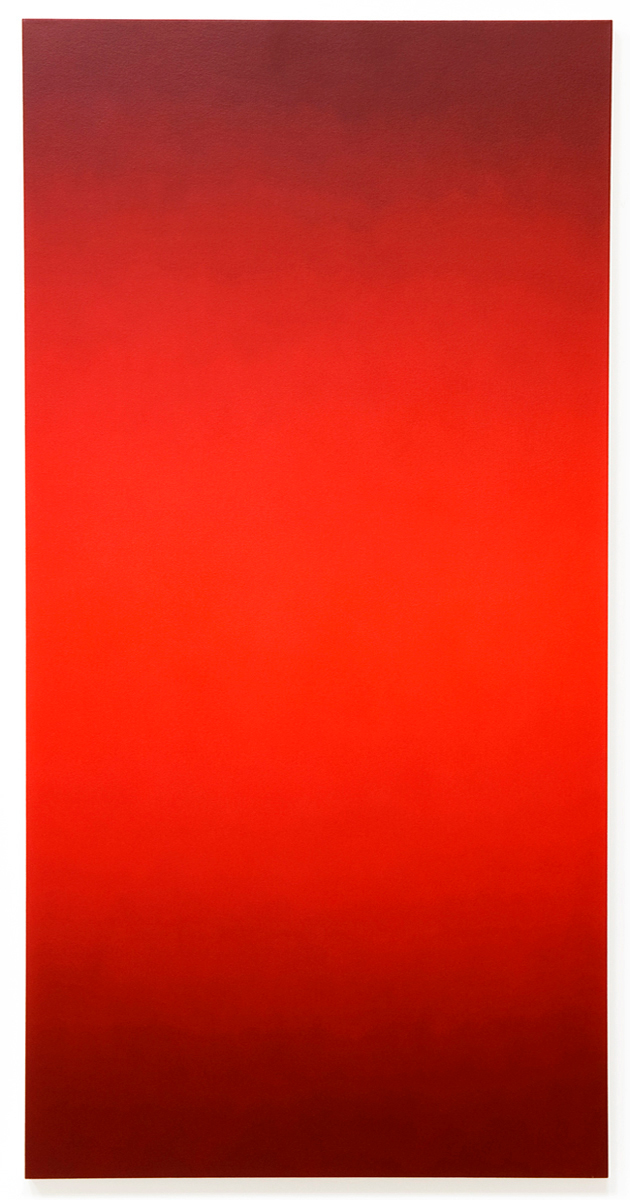 Flare (Red Green), Primary Red Blue Series, 2008, oil on canvas, 60 x 30 in. (152 x 76 cm.)