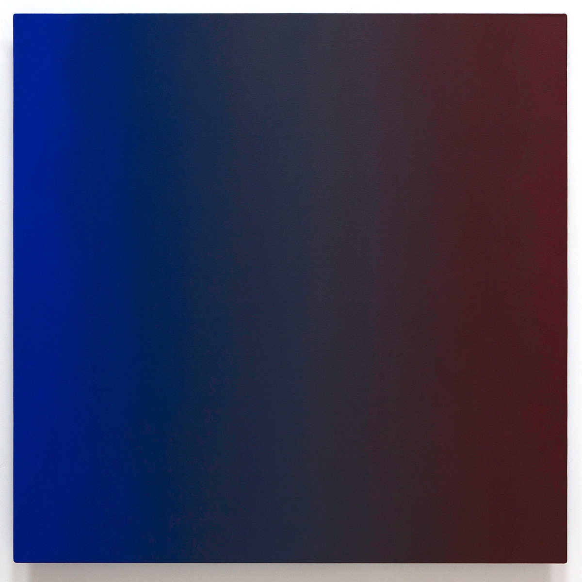 War Paint (Red Blue), Primary Red Blue Series, 2011, oil on canvas on custom beveled stretcher, 48 x 48 in. (122 x 122 cm.)