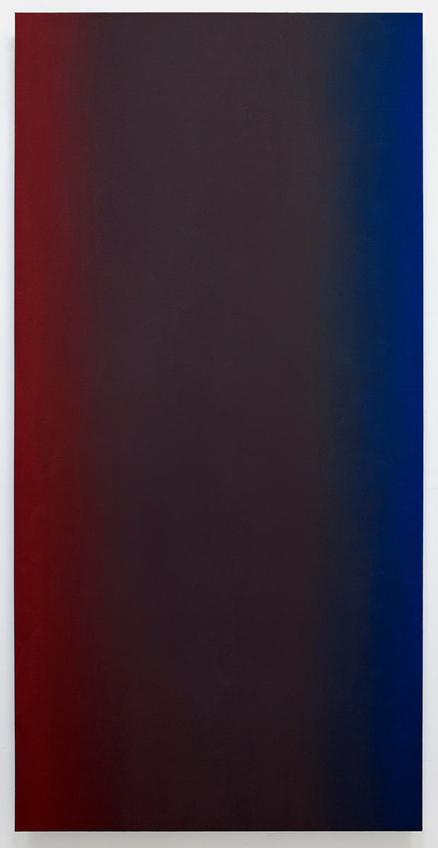 Conquer Surrender 2 (Red Blue), Primary Red Blue Series, 2010, oil on canvas on custom beveled stretcher, 80 x 40 in. (204 x 102 cm.)