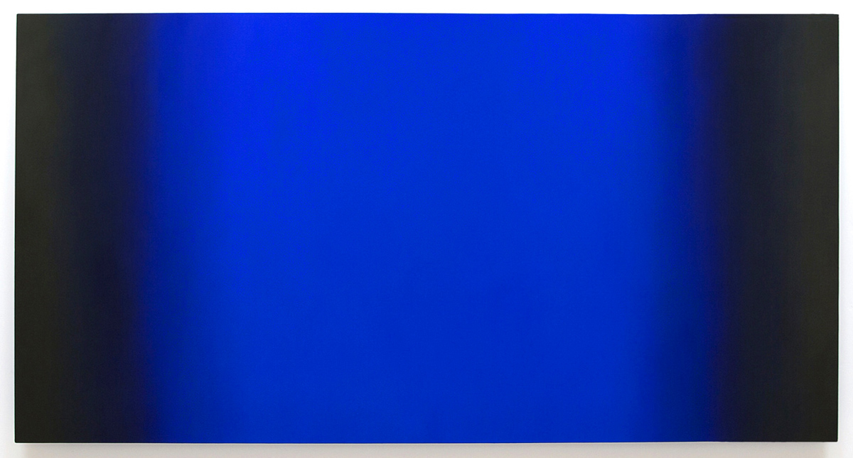 Blue Orange 6-H4890 (Blue Deep), Interplay Series, 2013, oil on canvas on custom beveled stretcher, 48 x 90 x 3 inches (122 x 229 x 7 cm.)