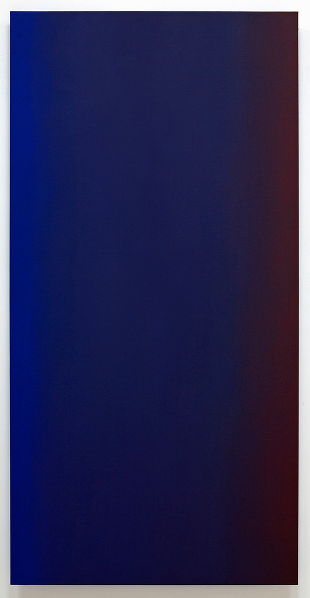 Conquer Surrender 3 (Red Blue), Primary Red Blue Series, 2010, oil on canvas on custom beveled stretcher, 80 x 40 in. (204 x 102 cm.)
