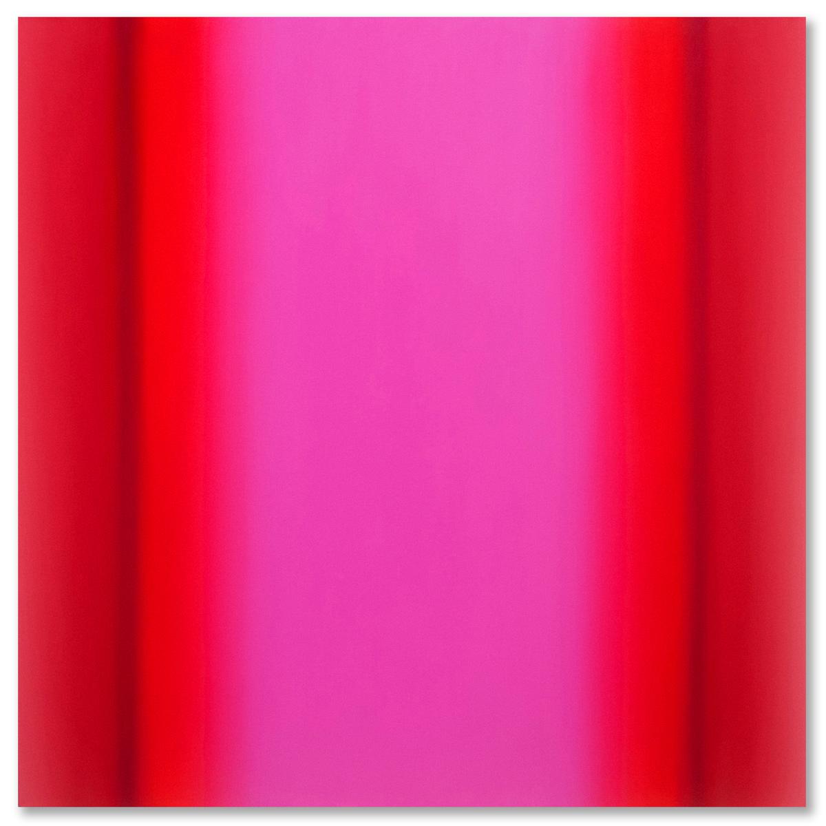 Matter of Light 14-S4848 (Red Magenta), Matter of Light Series, 2016, oil on canvas on custom beveled stretcher, 48 x 48 x 3 in. (122 x 122 x 7 cm.)