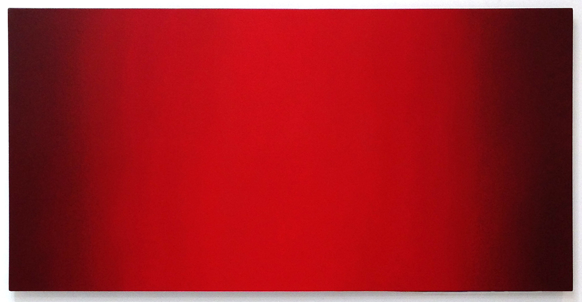 Threshold (Red Green), Primary Red Blue Series, 2010-2011, oil on canvas on custom beveled stretcher, 40 x 80 in. (102 x 204 cm.)