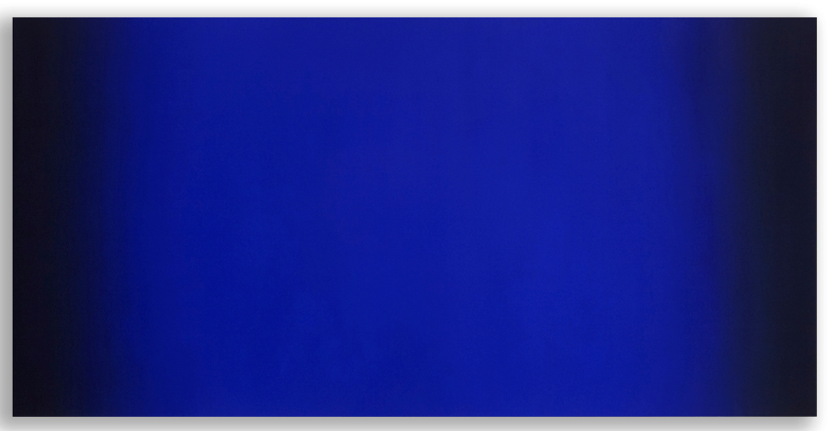 Glider (Blue Orange), Primary Red Blue Series, 2008, oil on canvas, 40 x 80 in. (102 x 204 cm.)