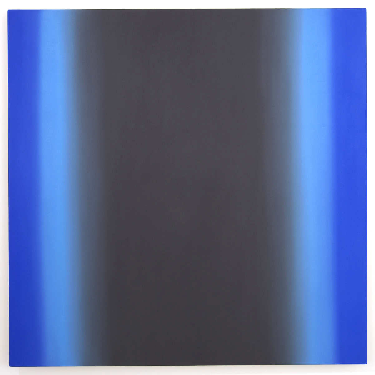 Blue Orange 15-S6060 (Gray Blue Light), Interplay Series, 2013, oil on canvas on custom beveled stretcher, 60 x 60 x 3 inches (153 x 153 x 7 cm.)