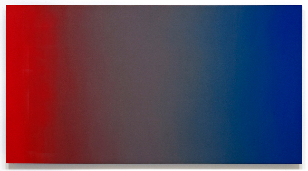 Savage Desire (Red Blue), Primary Red Blue Series, 2010-2011, oil on canvas on custom beveled stretcher, 45 x 84 in. (115 x 214 cm.)
