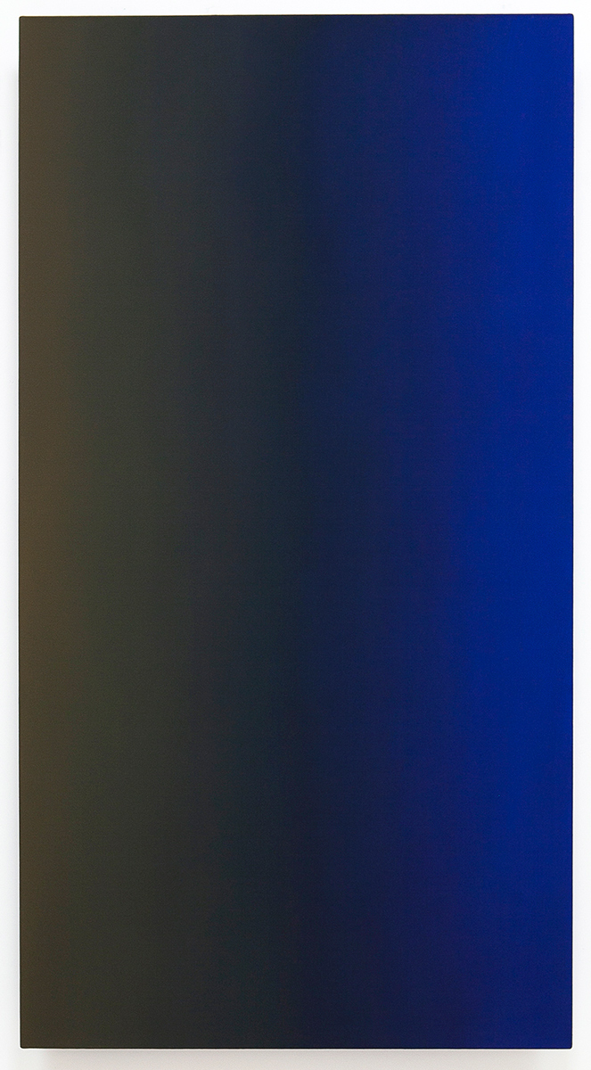 Mr. Muse (Blue Orange), Present Fugitive Series, 2010, oil on canvas on custom beveled stretcher, 60 x 32 x 3 in. (153 x 82 x 7 cm.)