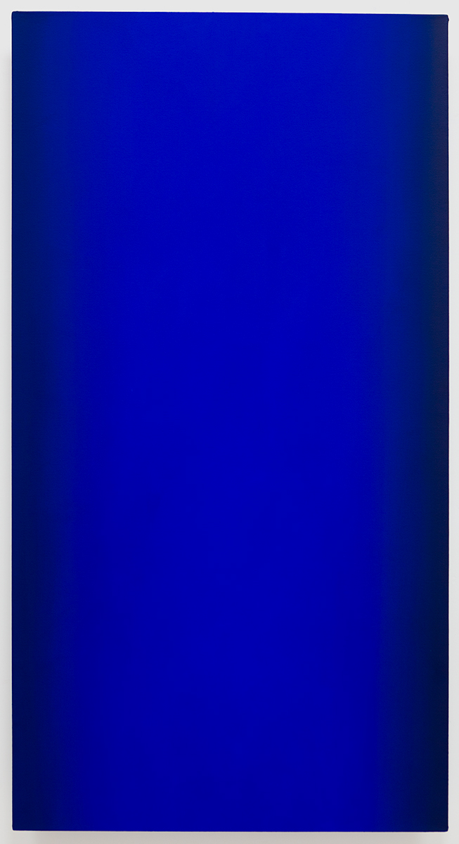 Beacon (Blue Orange), Present Fugitive Series, 2010, oil on canvas on custom beveled stretcher, 60 x 32 x 3 in. (153 x 82 x 7 cm.)