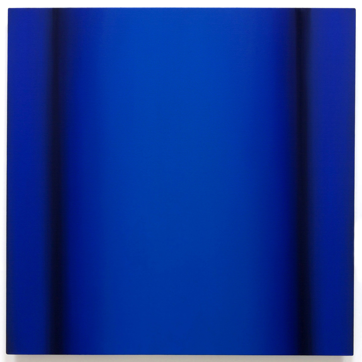 Blue Orange 1-S4848 (Blue Deep), Interplay Series, 2013, oil on canvas on custom beveled stretcher, 48 x 48 x 3 in. (122 x 122 x 7 cm.)