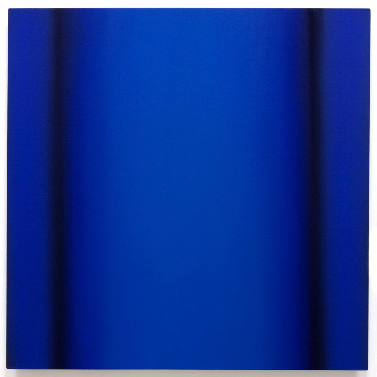 Blue Orange 1-S4848 (Blue Deep), Interplay Series, 2013, oil on canvas on custom beveled stretcher, 48 x 48 x 3 in. (122 x 122 x 7 cm.)