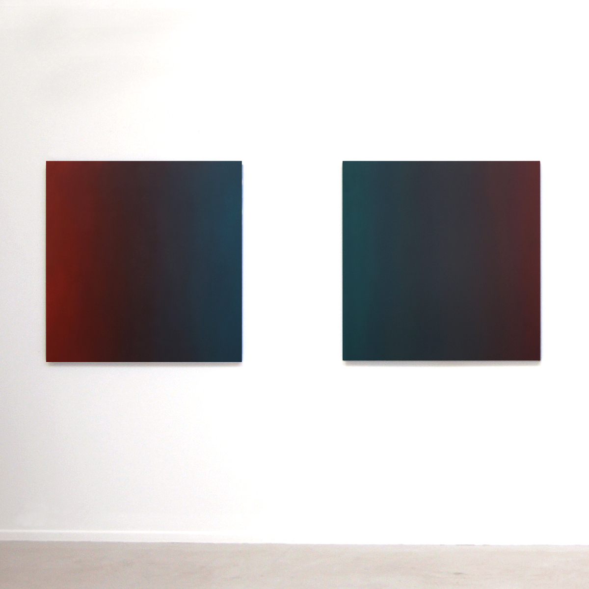 l. to r. Sighted and Tempted (Red Green), Limitless Series, 2009, oil on canvas, 40 x 40 in. (102 x 102 cm.) each