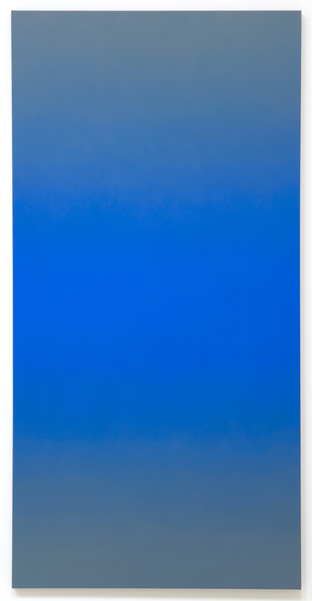 Sentinel (Blue Orange), Phase & Shifting Gray Series, 2008, oil on canvas, 80 x 40 in. (204 x 102 cm.)