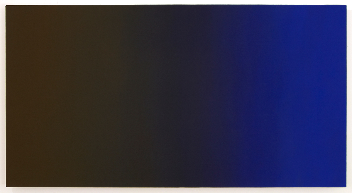 Beckon (Blue Orange), Present Fugitive Series, 2010, oil on canvas on custom beveled stretcher, 32 x 60 x 3 in. (82 x 153 x 7 cm.)