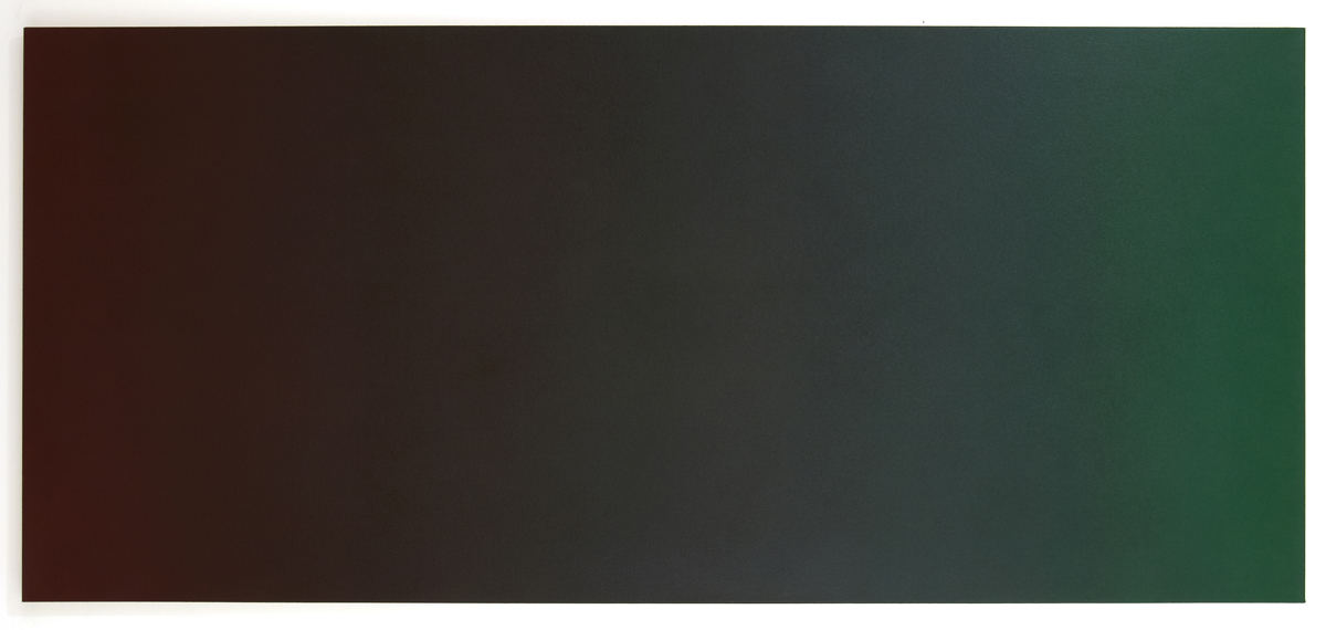 Scorch 2 (Red Green), Black Light Series, 2007, oil on canvas, 36 x 80 in. (92 x 204 cm.)
