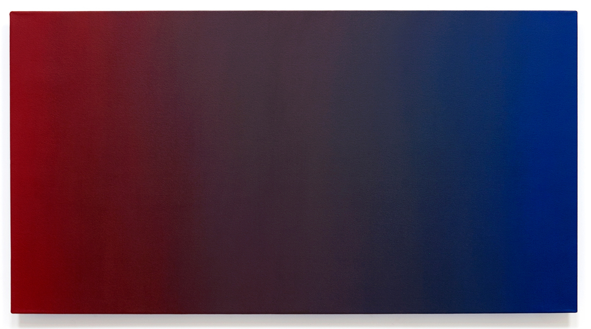 Surrender (Red Blue), Primary Red Blue Series, 2010, oil on canvas on custom beveled stretcher, 32 x 60 in. (82 x 153 cm.)