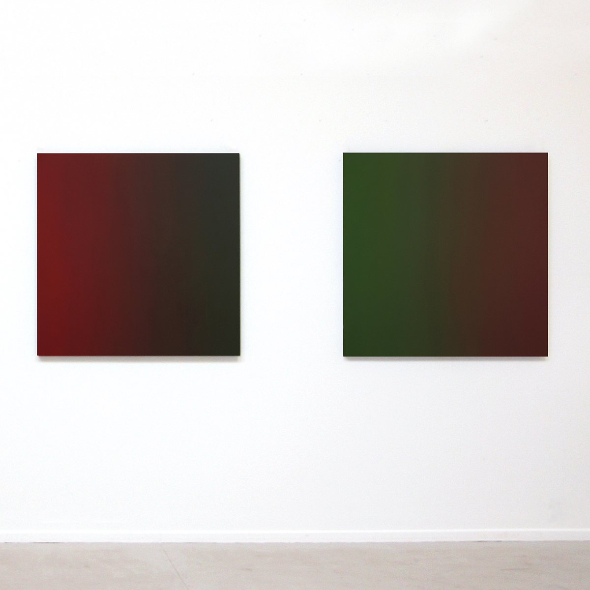 l. to r. Double Take and Bittersweet (Red Green), Limitless Series, 2009, oil on canvas, 40 x 40 in. (102 x 102 cm.) each