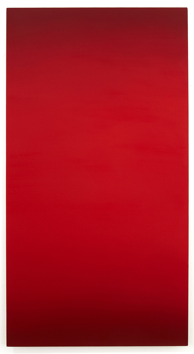 Possession (Red Green), Primary Red Blue Series, 2011, oil on canvas on custom beveled stretcher, 60 x 32 in. (153 x 82 cm.)