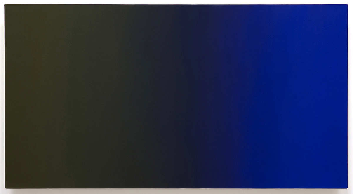 Beckoning (Blue Orange), Present Fugitive Series, 2010, oil on canvas on custom beveled stretcher, 32 x 60 x 3 in. (82 x 153 x 7 cm.)
