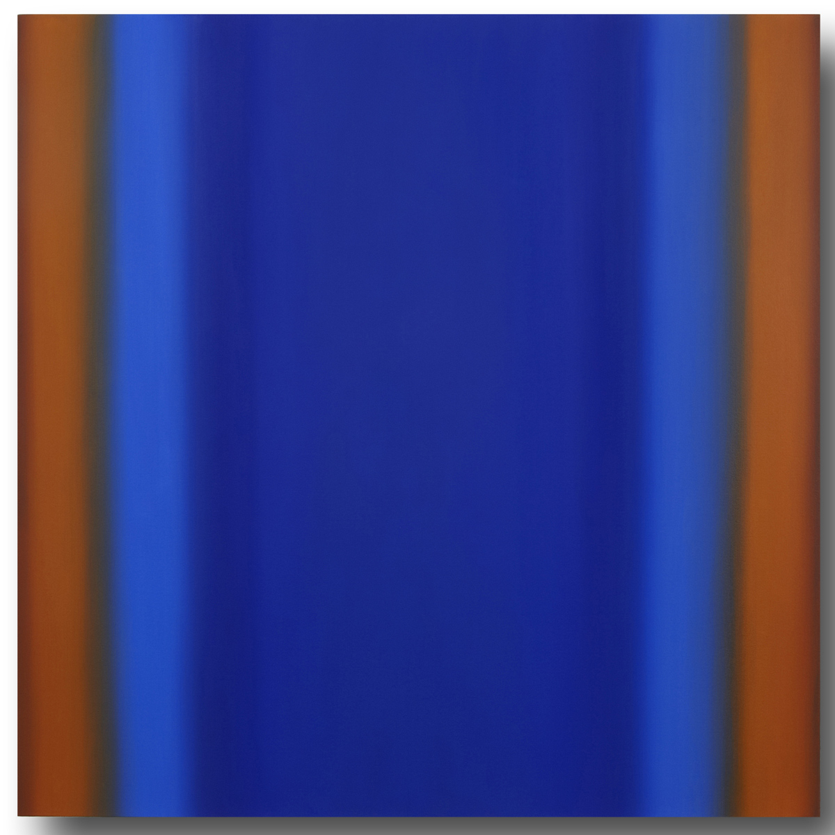 Blue Orange 7-S6060 (Blue Orange Deep), Sense Certainty Series, 2014, oil on canvas on custom beveled stretcher, 60 x 60 x 3 in. (153 x 153 x 7 cm.)