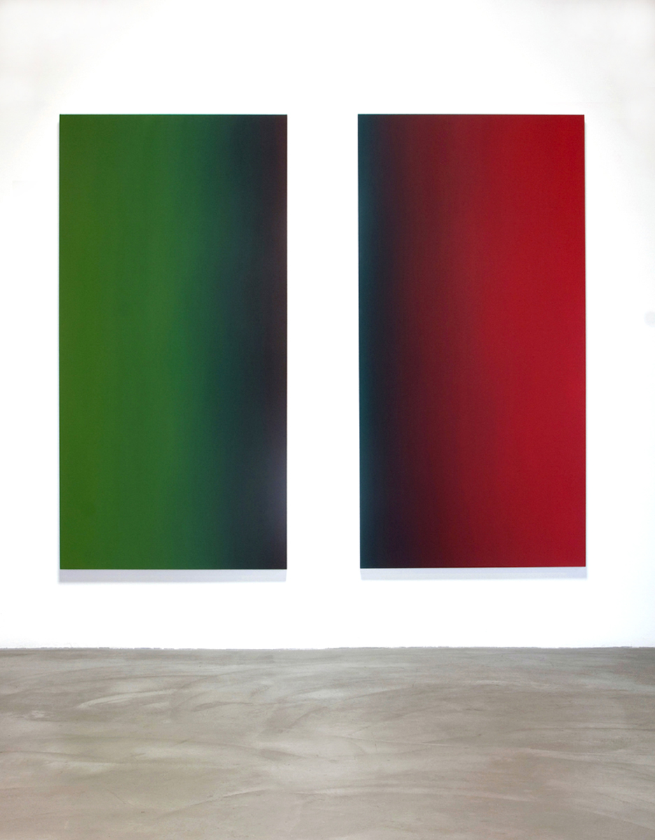 Ethics and Desire and Strength's Vulnerability (Red Green), Limitless Series, 2009, oil on canvas diptych installation, 80 x 92 in. (203 x 234 cm.)