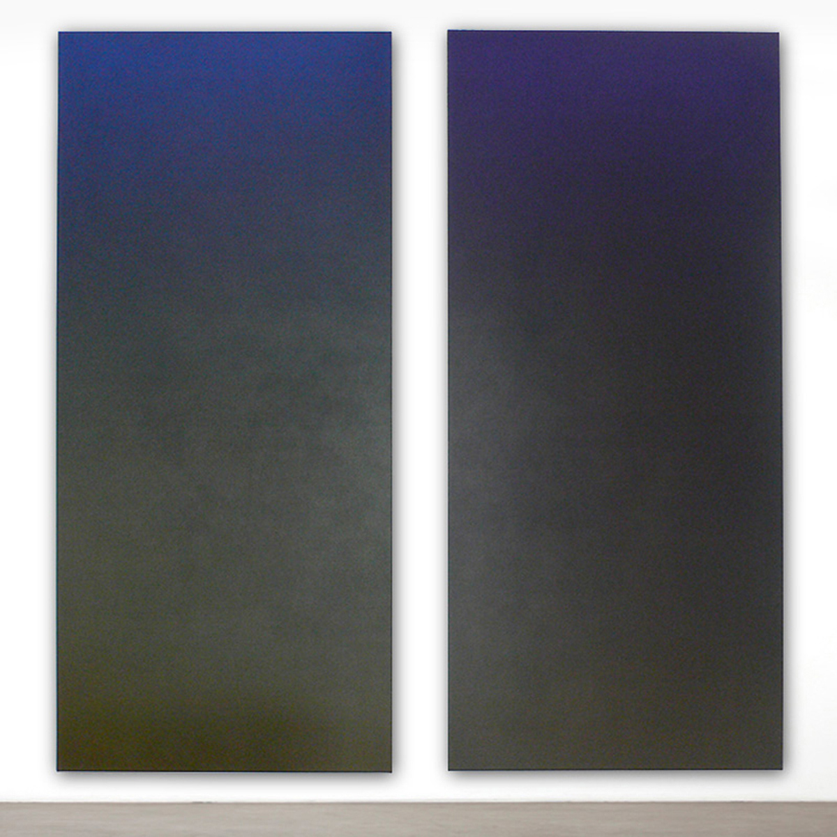 Core (Blue Orange) and Laden (Yellow Violet), Black Light Series, 2007, oil on canvas, 80 x 40 in. each (204 x 102 cm. each)