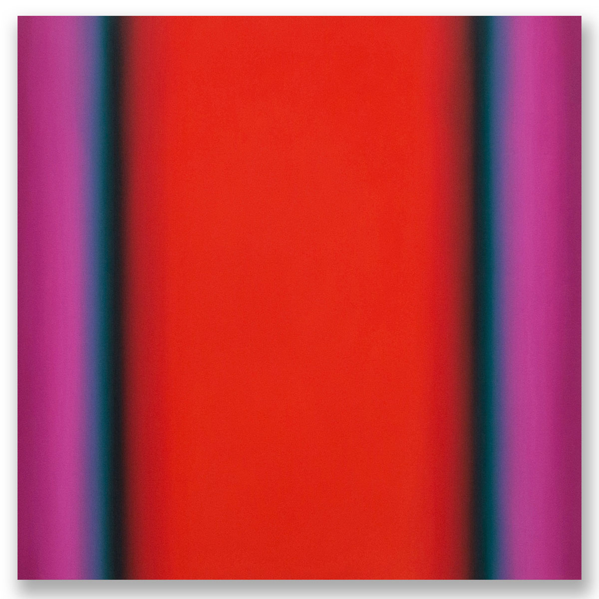 Matter of Light 11-S4848, (Red Green), Matter of Light Series, 2016, oil on canvas on custom beveled stretcher, 48 x 48 x 3 in. (122 x 122 x 7 cm.)