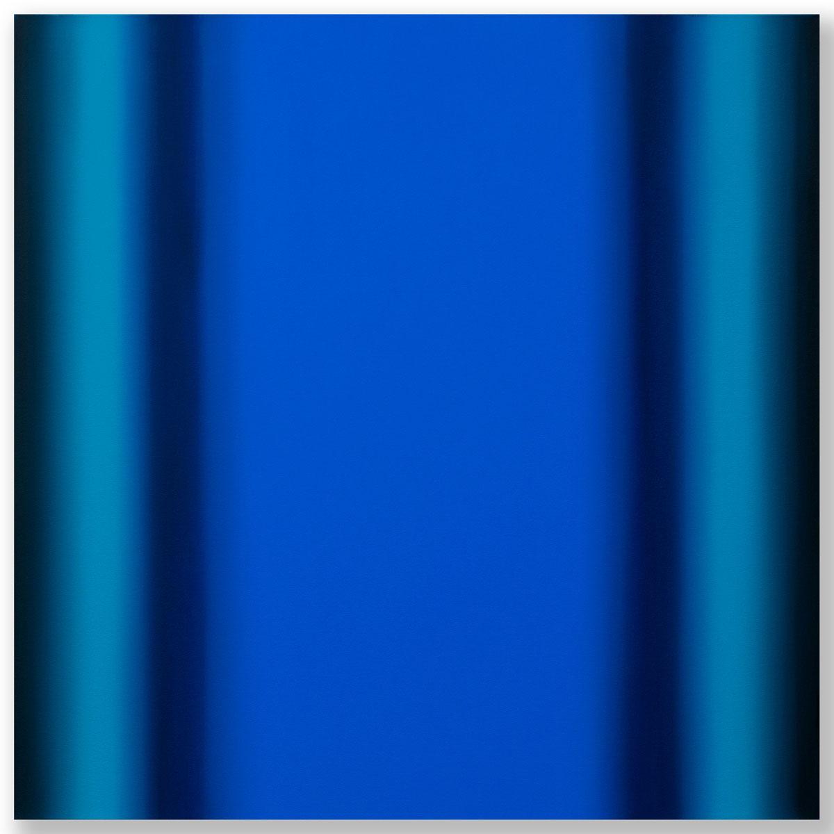 Matter of Light 12-S4848, (Blue Orange), Matter of Light Series, 2017, oil on canvas on custom beveled stretcher, 48 x 48 x 3 in. (122 x 122 x 7 cm.)